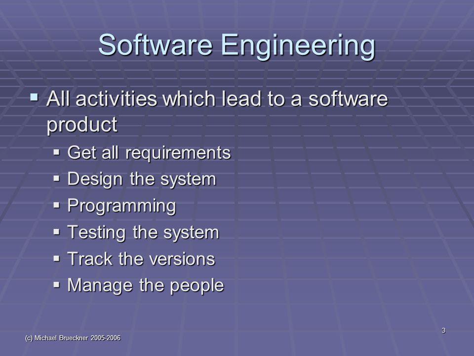 (c) Michael Brueckner 2005-2006 14 Types of Software Systems  Transaction Processing  Batch Processing  Real Time Processing  Transaction: การติดต่อทางธุรกิจ / การ ดำเนินการ / ความสัมพันธ์ระหว่างบุคคล