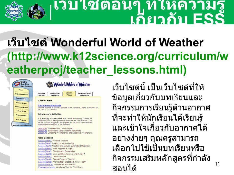 11 เว็บไซต์อื่นๆ ที่ให้ความรู้ เกี่ยวกับ ESS เว็บไซต์ Wonderful World of Weather (http://www.k12science.org/curriculum/w eatherproj/teacher_lessons.ht