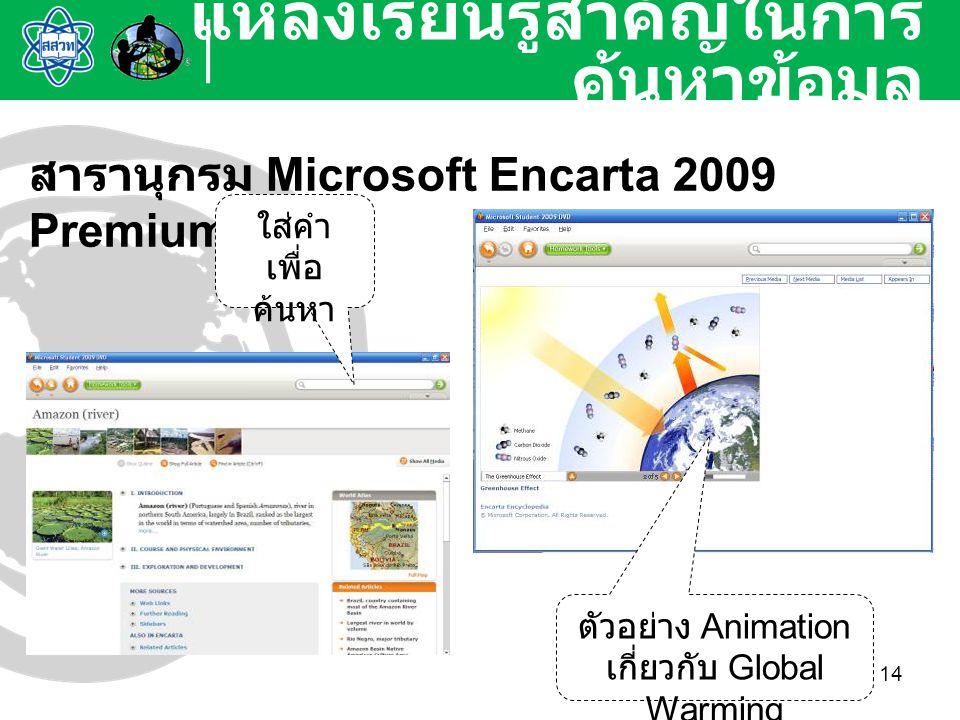 14 แหล่งเรียนรู้สำคัญในการ ค้นหาข้อมูล สารานุกรม Microsoft Encarta 2009 Premium ใส่คำ เพื่อ ค้นหา ตัวอย่าง Animation เกี่ยวกับ Global Warming
