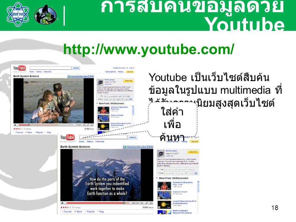 18 การสืบค้นข้อมูลด้วย Youtube http://www.youtube.com/ Youtube เป็นเว็บไซต์สืบค้น ข้อมูลในรูปแบบ multimedia ที่ ได้รับความนิยมสูงสุดเว็บไซต์ หนึ่ง ใส่