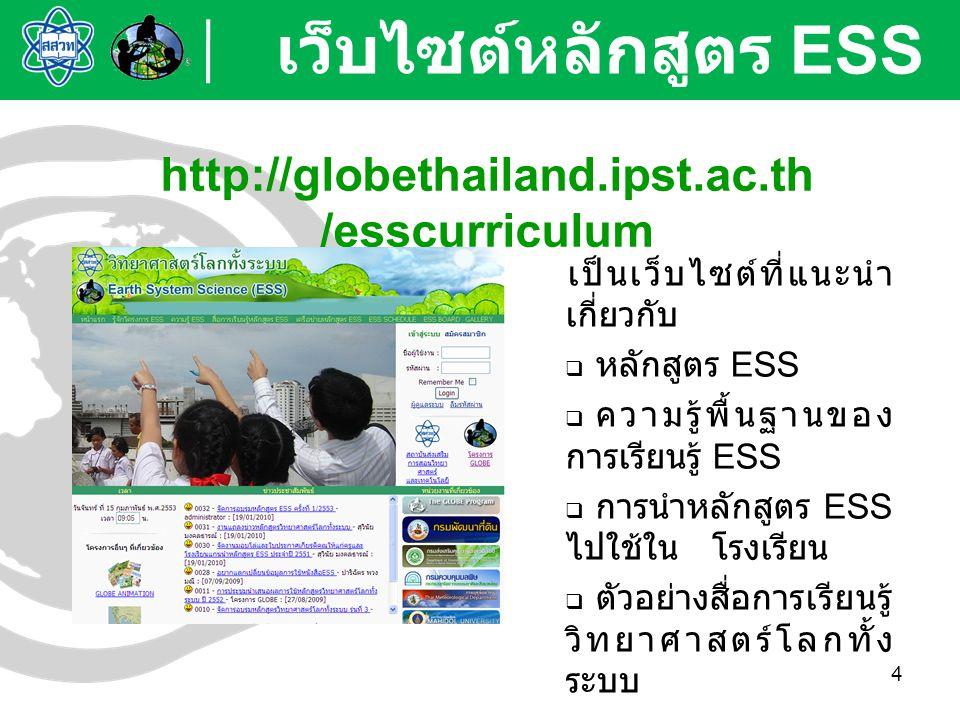 4 เป็นเว็บไซต์ที่แนะนำ เกี่ยวกับ  หลักสูตร ESS  ความรู้พื้นฐานของ การเรียนรู้ ESS  การนำหลักสูตร ESS ไปใช้ใน โรงเรียน  ตัวอย่างสื่อการเรียนรู้ วิท