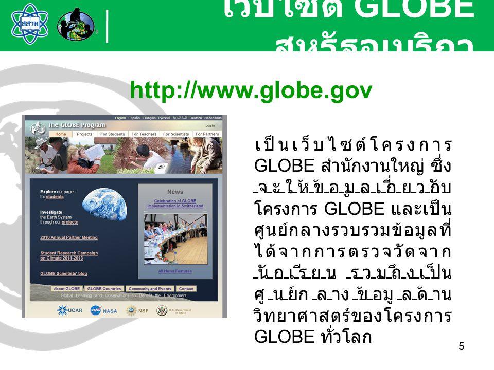 6 เป็นเว็บไซต์โครงการ ศึกษาวิจัยวิทยาศาสตร์ โลกทั้งระบบของนักเรียนใน โครงการ GLOBE ทั่วโลก ซึ่งใช้กระบวนการสืบ เสาะหาความรู้ในการ ศึกษาวิจัยและเน้นการทำ วิจัยร่วมกันระหว่างนักเรียน ครู นักวิทยาศาสตร์ และ ชุมชน โดยมีโครงการ ศึกษาวิจัยที่สำคัญๆ 4 โครงการ ได้แก่ 1.