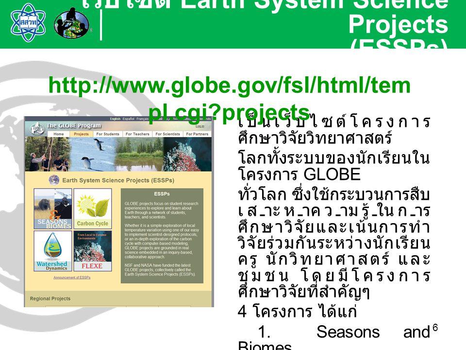 6 เป็นเว็บไซต์โครงการ ศึกษาวิจัยวิทยาศาสตร์ โลกทั้งระบบของนักเรียนใน โครงการ GLOBE ทั่วโลก ซึ่งใช้กระบวนการสืบ เสาะหาความรู้ในการ ศึกษาวิจัยและเน้นการ