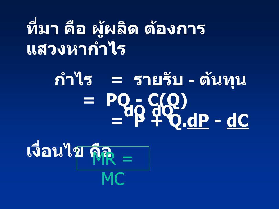 ที่มา คือ ผู้ผลิต ต้องการ แสวงหากำไร กำไร = รายรับ - ต้นทุน = PQ - C(Q) = P + Q.dP - dC เงื่อนไข คือ dQ MR = MC
