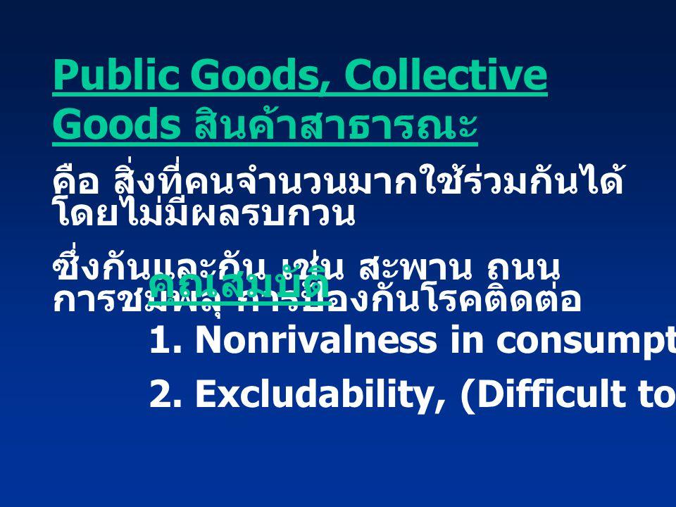 Public Goods, Collective Goods สินค้าสาธารณะ คือ สิ่งที่คนจำนวนมากใช้ร่วมกันได้ โดยไม่มีผลรบกวน ซึ่งกันและกัน เช่น สะพาน ถนน การชมพลุ การป้องกันโรคติด