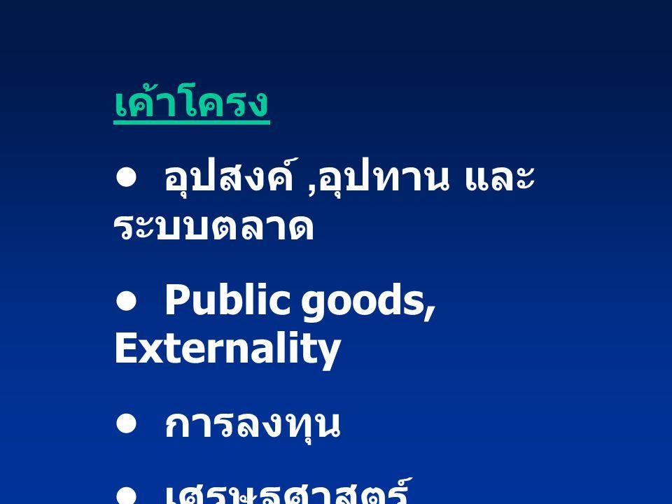 เค้าโครง อุปสงค์, อุปทาน และ ระบบตลาด Public goods, Externality การลงทุน เศรษฐศาสตร์ สวัสดิการ