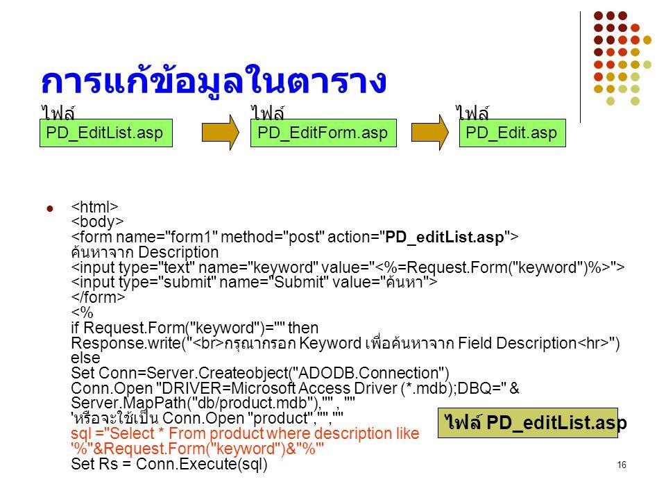 16 การแก้ข้อมูลในตาราง ค้นหาจาก Description > กรุณากรอก Keyword เพื่อค้นหาจาก Field Description ) else Set Conn=Server.Createobject( ADODB.Connection ) Conn.Open DRIVER=Microsoft Access Driver (*.mdb);DBQ= & Server.MapPath( db/product.mdb ), , หรือจะใช้เป็น Conn.Open product , , sql = Select * From product where description like % &Request.Form( keyword )& % Set Rs = Conn.Execute(sql) ไฟล์ PD_editList.asp PD_EditList.aspPD_EditForm.aspPD_Edit.asp ไฟล์