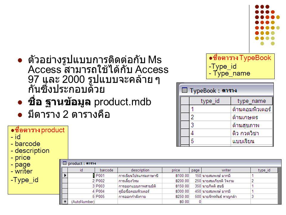 2 ตัวอย่างรูปแบบการติดต่อกับ Ms Access สามารถใช้ได้กับ Access 97 และ 2000 รูปแบบจะคล้าย ๆ กันซึ่งประกอบด้วย ชื่อ ฐานข้อมูล product.mdb มีตาราง 2 ตารางคือ ชื่อตาราง product - id - barcode - description - price - page - writer -Type_id ชื่อตาราง TypeBook -Type_id - Type_name