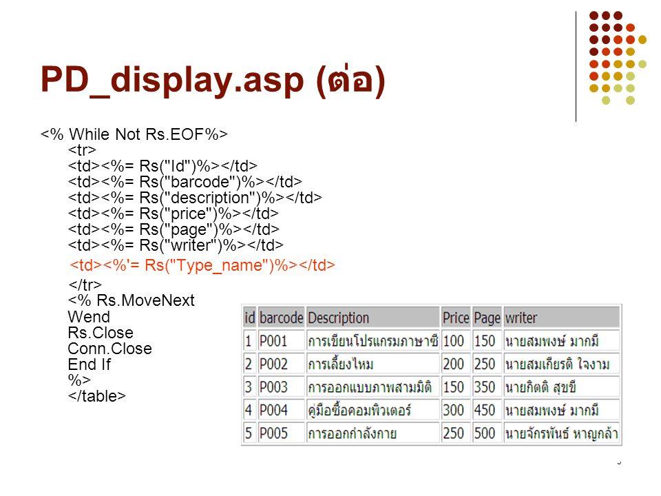 10 การเพิ่มข้อมูลลงในตาราง <% Set Conn=Server.Createobject( ADODB.Connection ) Conn.Open DRIVER=Microsoft Access Driver (*.mdb);DBQ= & Server.MapPath( db/product.mdb ), , หรือจะใช้เป็น Conn.Open product , , sql = Select * From product Set RS =Server.CreateObject( ADODB.Recordset ) RS.open Sql,Conn,1,3 barcode= P006 description= หนังสือเล่มที่ 6 price=350 page=450 writer= ผู้แต่งคนที่ 6 Rs.AddNew Rs( barcode ) = barcode Rs( description ) = description Rs( price ) = price Rs( page ) = page Rs( writer ) = writer Rs.Update Conn.Close response.write( เพิ่มข้อมูลเรียบร้อยแล้ว ) %> PD_Add006.asp ถ้า Run ไม่ได้ลองใช้ http://localhost/webasp/PD_ADD006.asp