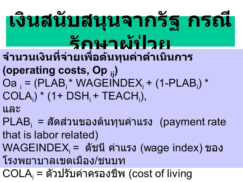เงินสนับสนุนจากรัฐ กรณี รักษาผู้ป่วย จำนวนเงินที่จ่ายเพื่อต้นทุนค่าดำเนินการ (operating costs, Op ij ) Oa i = (PLAB i * WAGEINDEX i + (1-PLAB i ) * COLA i ) * (1+ DSH i + TEACH i ), และ PLAB i = สัดส่วนของต้นทุนค่าแรง (payment rate that is labor related) WAGEINDEX i = ดัชนี ค่าแรง (wage index) ของ โรงพยาบาลเขตเมือง / ชนบท COLA i = ตัวปรับค่าครองชีพ (cost of living adjustment) DSH i = ตัวปรับสำหรับสัดส่วนคนจน (payment factor for disproportional share) TEACH i = ตัวปรับสำหรับการเรียนการสอน (indirect cost of medical education) TEACH i = 1.89*((1+ (interns + residents) /beds) *.405 - 1)).
