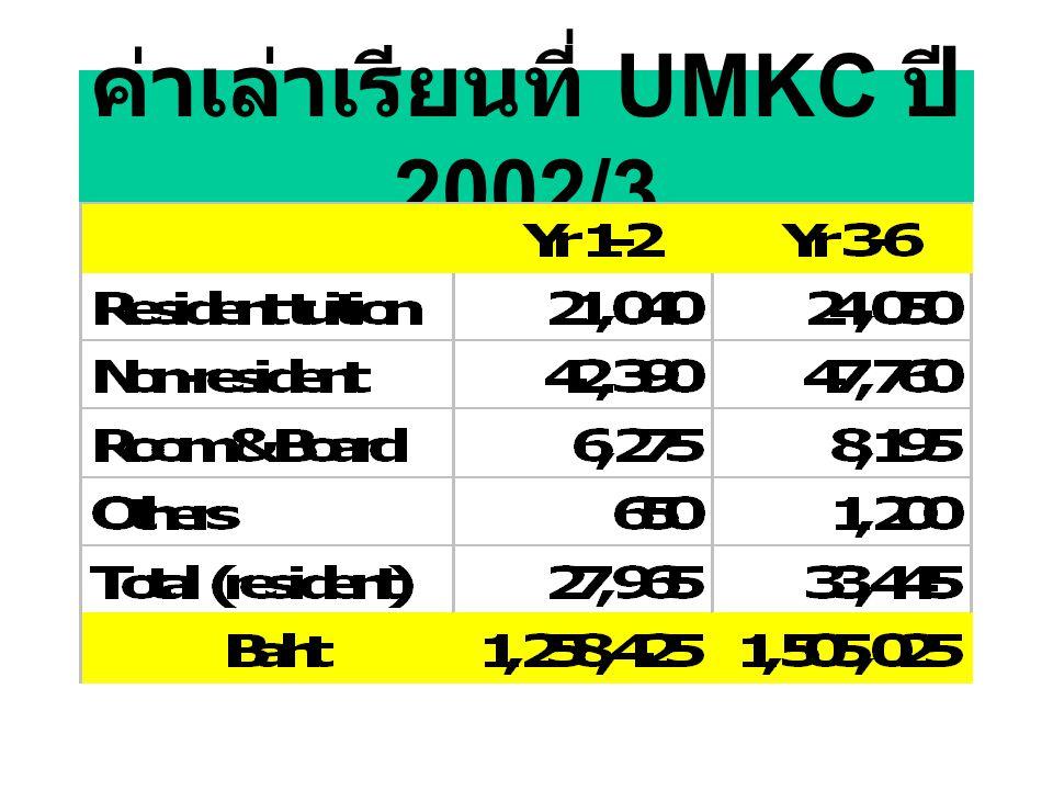 ค่าเล่าเรียนที่ UMKC ปี 2002/3