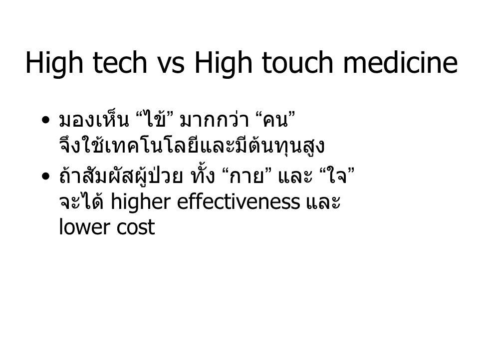 High tech vs High touch medicine มองเห็น ไข้ มากกว่า คน จึงใช้เทคโนโลยีและมีต้นทุนสูง ถ้าสัมผัสผู้ป่วย ทั้ง กาย และ ใจ จะได้ higher effectiveness และ lower cost