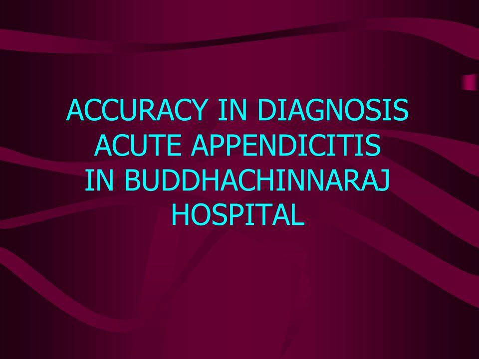 ACCURACY IN DIAGNOSIS ACUTE APPENDICITIS IN BUDDHACHINNARAJ HOSPITAL