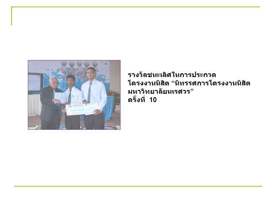 """รางวัลชนะเลิศในการประกวด โครงงานนิสิต """" นิทรรศการโครงงานนิสิต มหาวิทยาลัยนเรศวร """" ครั้งที่ 10"""