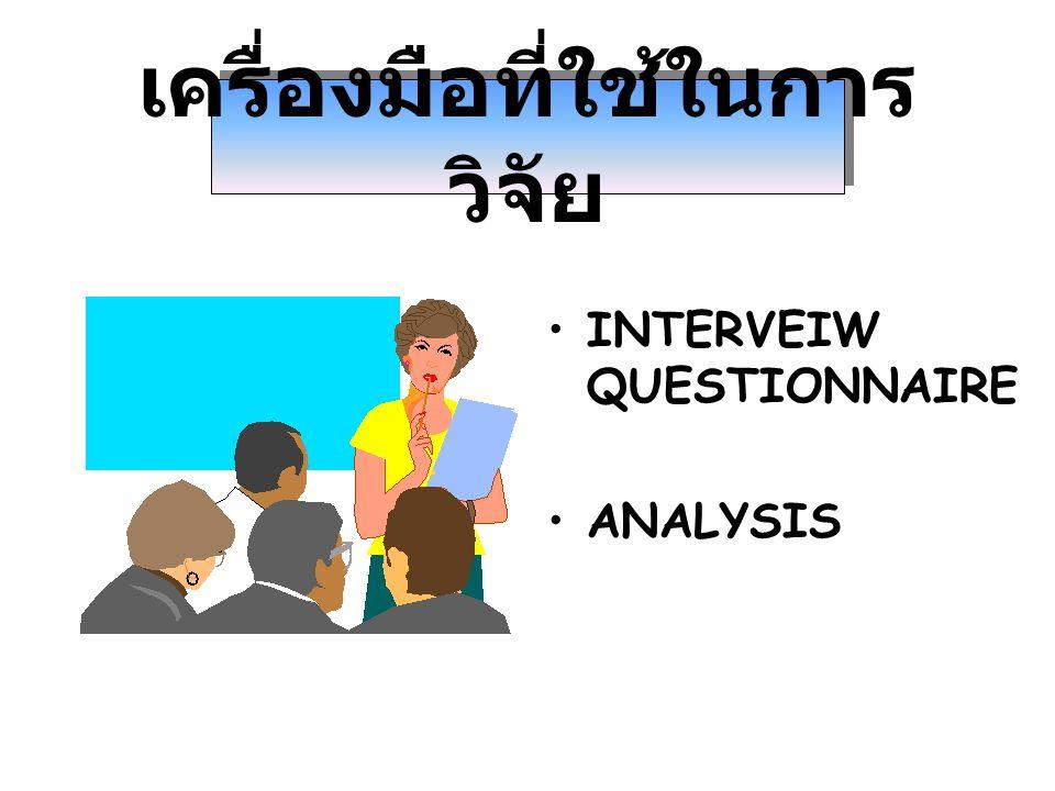เครื่องมือที่ใช้ในการ วิจัย INTERVEIW QUESTIONNAIRE ANALYSIS