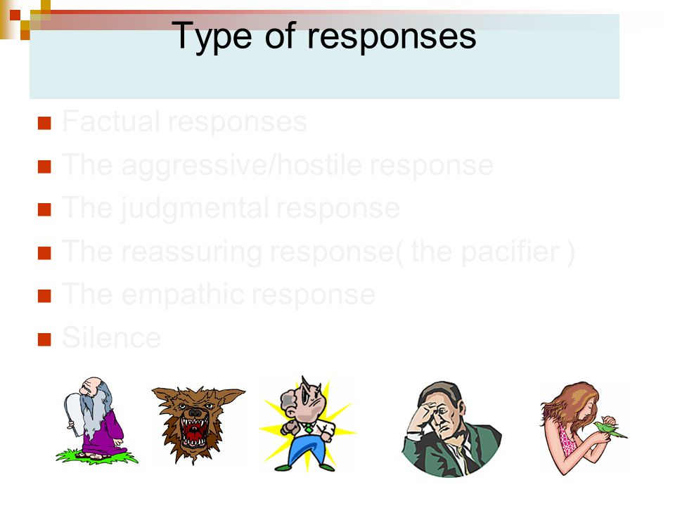 Type of responses Factual responses The aggressive/hostile response The judgmental response The reassuring response( the pacifier ) The empathic response Silence