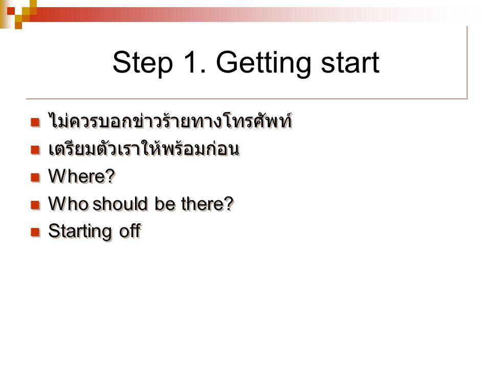 Step 1. Getting start ไม่ควรบอกข่าวร้ายทางโทรศัพท์ เตรียมตัวเราให้พร้อมก่อน Where? Who should be there? Starting off ไม่ควรบอกข่าวร้ายทางโทรศัพท์ เตรี
