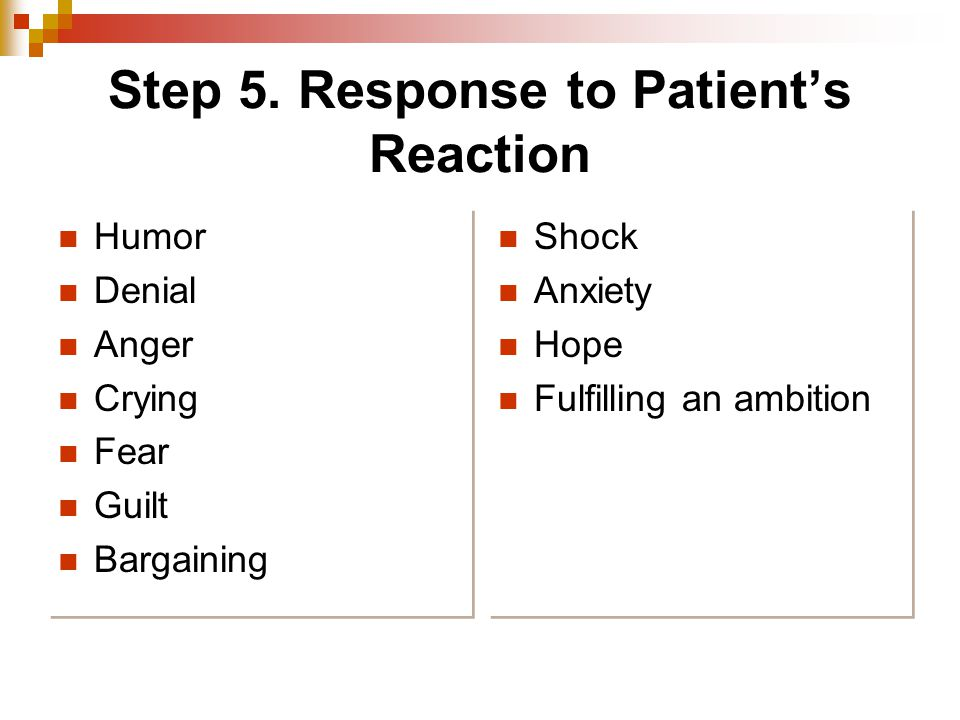 Step 5. Response to Patient's Reaction Humor Denial Anger Crying Fear Guilt Bargaining Humor Denial Anger Crying Fear Guilt Bargaining Shock Anxiety H