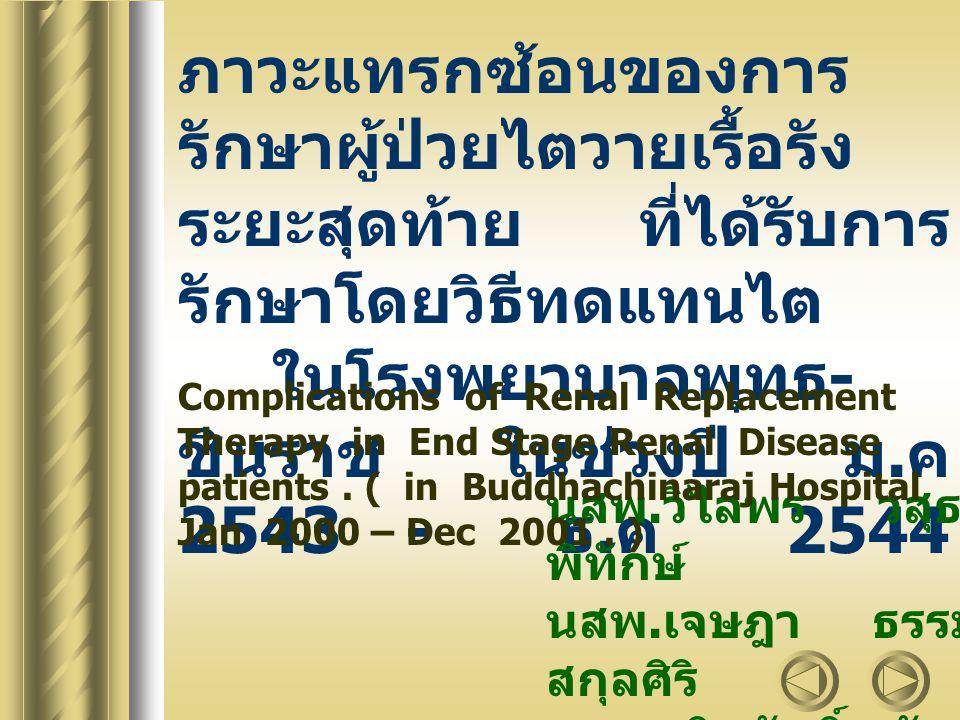 ผู้ป่วยที่เป็นโรคไตวายเรื้อรังระยะ สุดท้าย ( End stage renal disease : ESRD ) เป็นโรคที่ไตสูญเสียหน้าที่อย่าง ถาวร ไม่มีทางรักษาได้หายขาด การรักษาผู้ป่วยไตวายเรื้อรังระยะ สุดท้ายโดยวิธีทดแทนไตมี 3 วิธี : HD, CAPD, KT