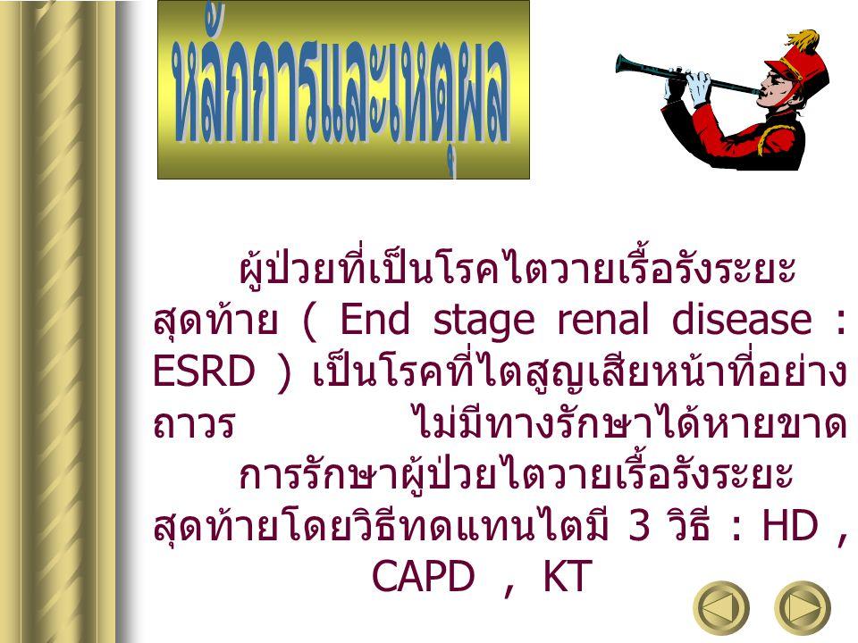 เพื่อศึกษาภาวะแทรกซ้อนที่เกิดขึ้นใน ผู้ป่วยไตวายเรื้อรังระยะสุดท้าย ( End Stage Renal Disease : ESRD ) ที่ ได้รับการรักษาโดยวิธีทดแทนไต แต่ละวิธี ได้แก่ วิธีฟอกเลือด ( HD ) วิธีล้างช่อง ท้องถาวร ( CAPD ) และ วิธีผ่าตัดเปลี่ยน ไต ( Kidney transplantation : KT )