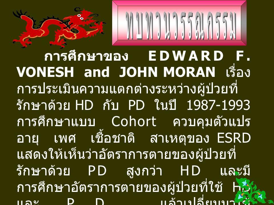 การศึกษาของ EDWARD F. VONESH and JOHN MORAN เรื่อง การประเมินความแตกต่างระหว่างผู้ป่วยที่ รักษาด้วย HD กับ PD ในปี 1987-1993 การศึกษาแบบ Cohort ควบคุม