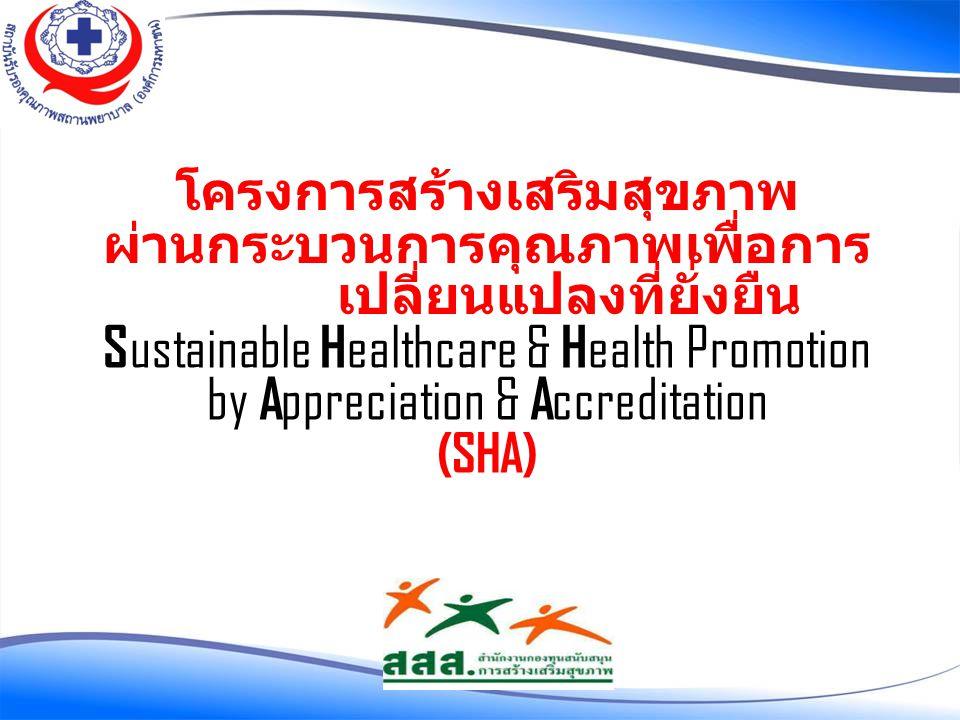 โครงการสร้างเสริมสุขภาพ ผ่านกระบวนการคุณภาพเพื่อการ เปลี่ยนแปลงที่ยั่งยืน S ustainable H ealthcare & H ealth Promotion by A ppreciation & A ccreditati