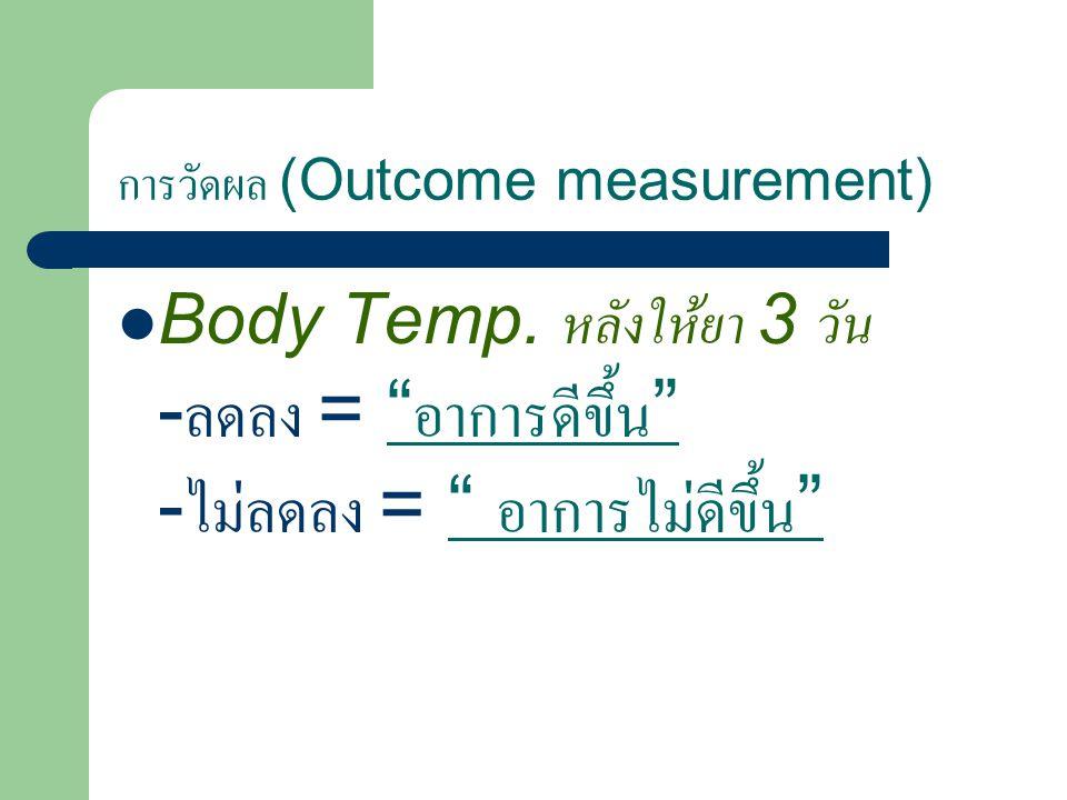 การวัดผล (Outcome measurement) Body Temp.