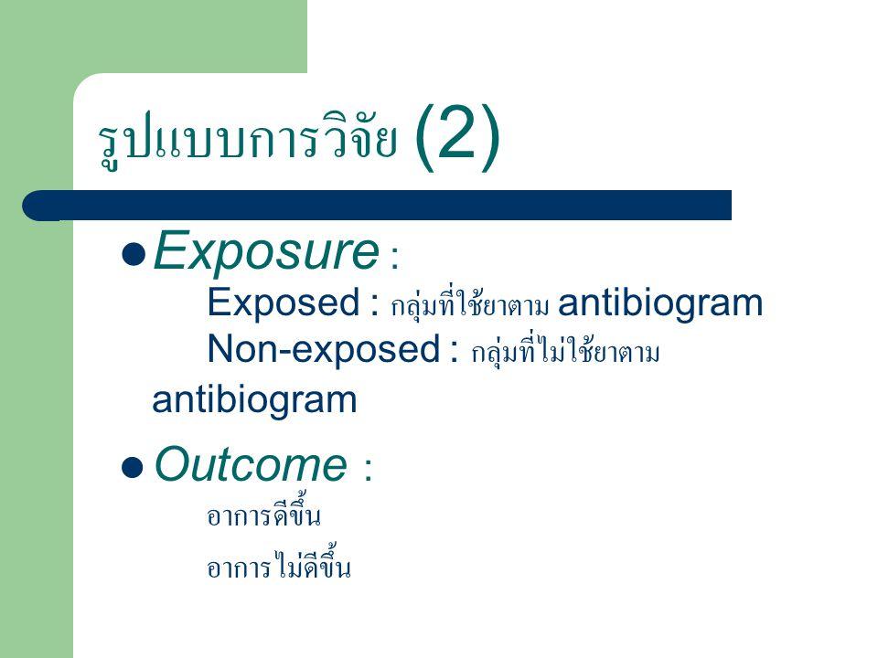 รูปแบบการวิจัย (2) Exposure : Exposed : กลุ่มที่ใช้ยาตาม antibiogram Non-exposed : กลุ่มที่ไม่ใช้ยาตาม antibiogram Outcome : อาการดีขึ้น อาการไม่ดีขึ้น