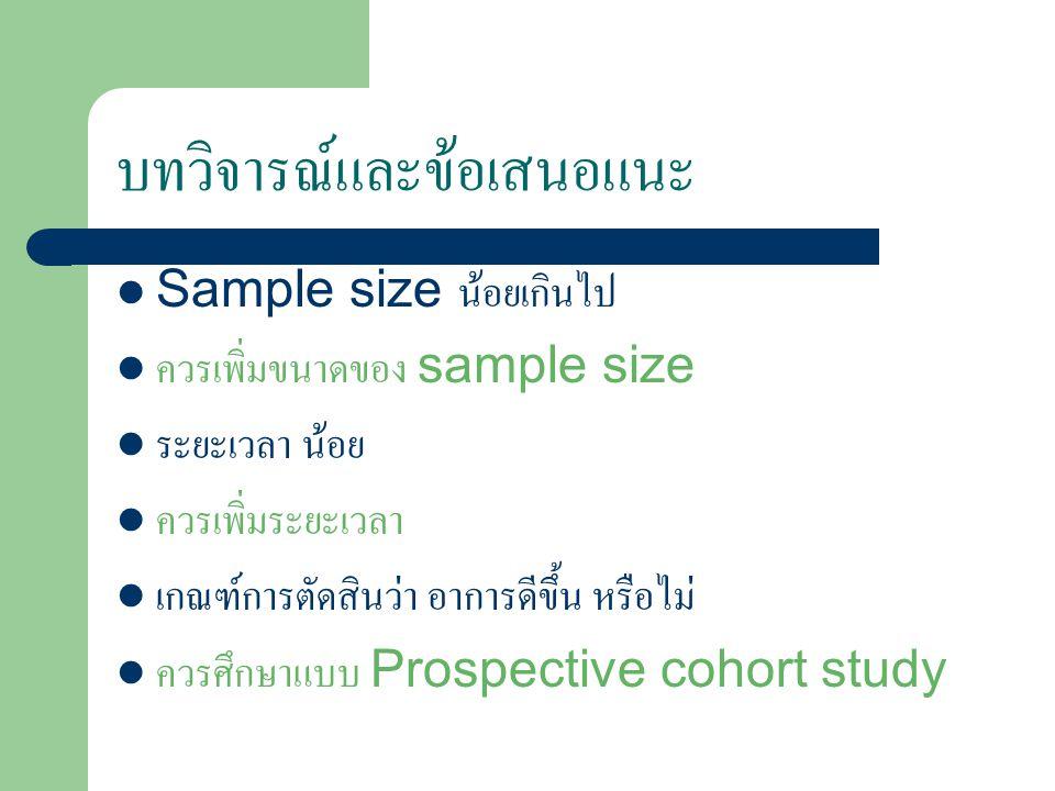 บทวิจารณ์และข้อเสนอแนะ Sample size น้อยเกินไป ควรเพิ่มขนาดของ sample size ระยะเวลา น้อย ควรเพิ่มระยะเวลา เกณฑ์การตัดสินว่า อาการดีขึ้น หรือไม่ ควรศึกษาแบบ Prospective cohort study