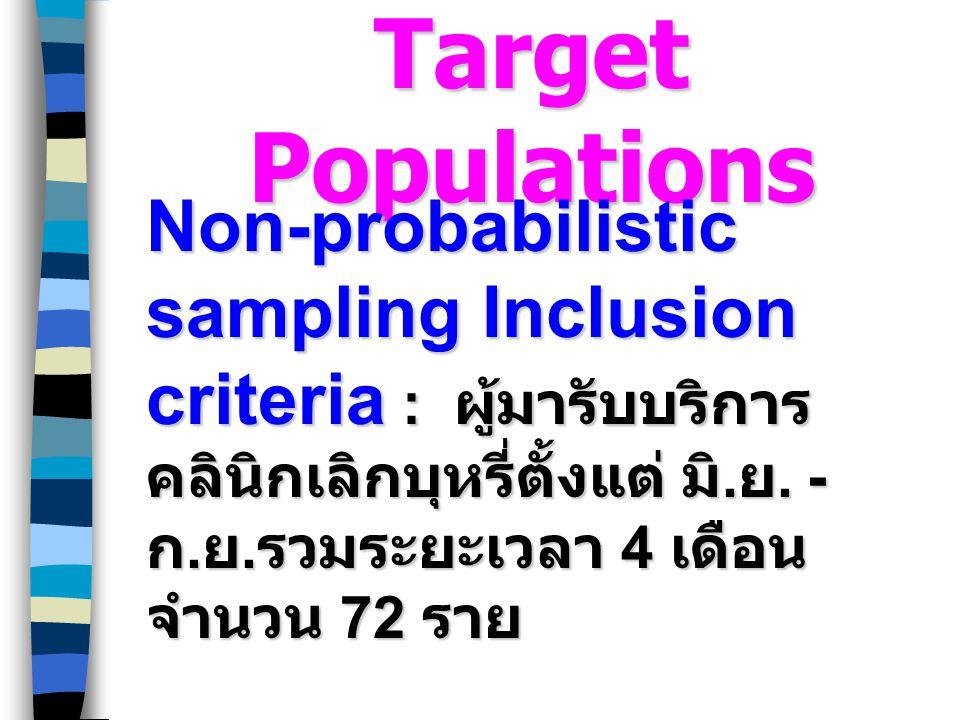 Target Populations Non-probabilistic sampling Inclusion criteria : ผู้มารับบริการ คลินิกเลิกบุหรี่ตั้งแต่ มิ. ย. - ก. ย. รวมระยะเวลา 4 เดือน จำนวน 72