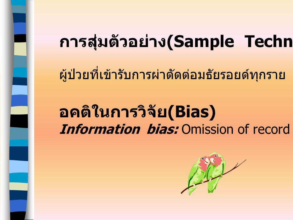 การสุ่มตัวอย่าง (Sample Technique) ผู้ป่วยที่เข้ารับการผ่าตัดต่อมธัยรอยด์ทุกราย อคติในการวิจัย (Bias) Information bias: Omission of record data