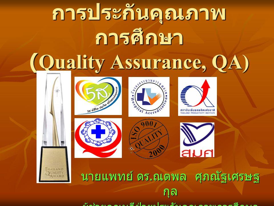 การประกันคุณภาพ การศึกษา (Quality Assurance, QA) นายแพทย์ ดร. ณตพล ศุภณัฐเศรษฐ กุล ผู้ช่วยคณบดีฝ่ายประกันคุณภาพการศึกษา และวิเทศสัมพันธ์
