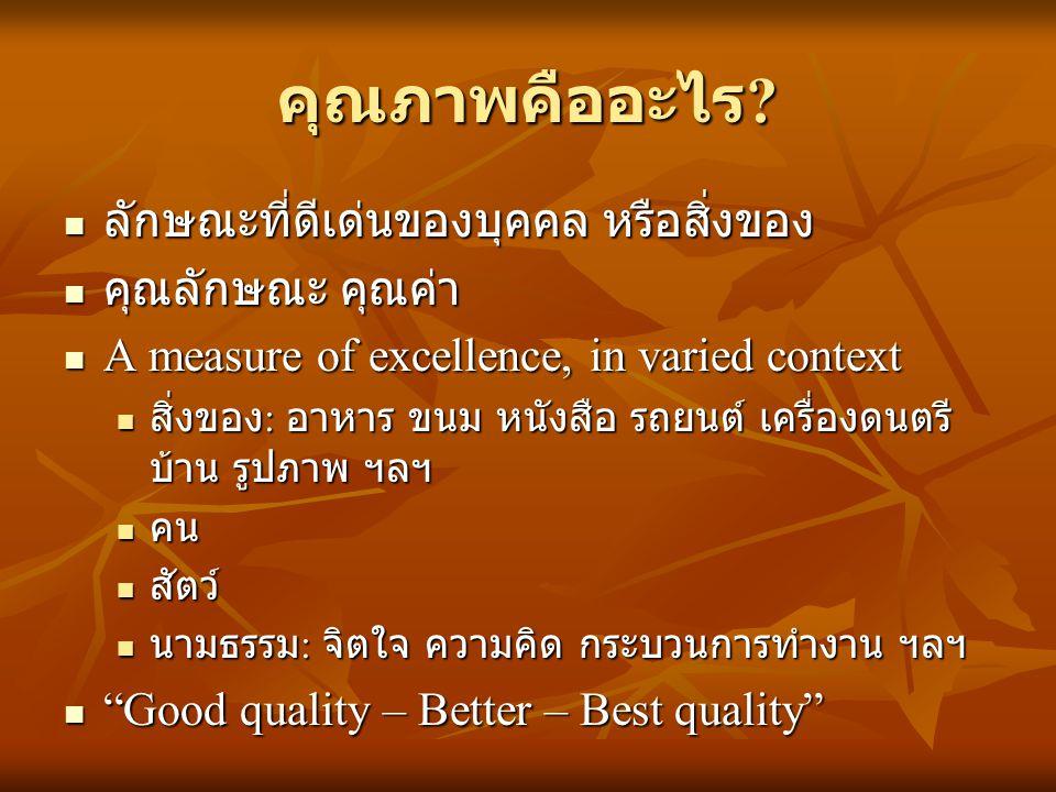 คุณภาพคืออะไร ? ลักษณะที่ดีเด่นของบุคคล หรือสิ่งของ ลักษณะที่ดีเด่นของบุคคล หรือสิ่งของ คุณลักษณะ คุณค่า คุณลักษณะ คุณค่า A measure of excellence, in