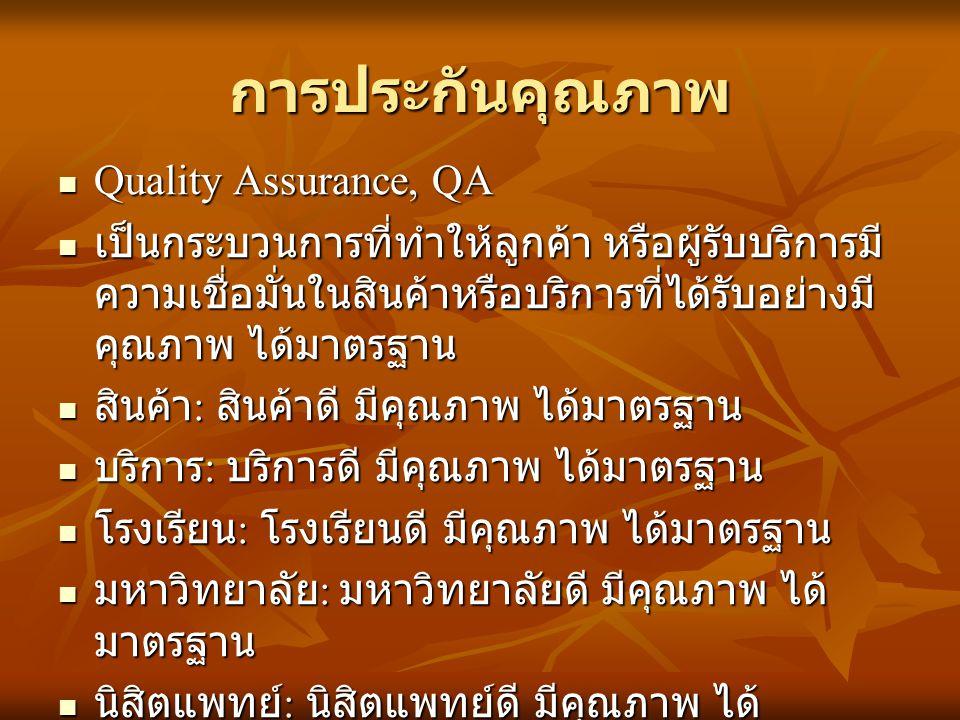 การประกันคุณภาพ Quality Assurance, QA Quality Assurance, QA เป็นกระบวนการที่ทำให้ลูกค้า หรือผู้รับบริการมี ความเชื่อมั่นในสินค้าหรือบริการที่ได้รับอย่างมี คุณภาพ ได้มาตรฐาน เป็นกระบวนการที่ทำให้ลูกค้า หรือผู้รับบริการมี ความเชื่อมั่นในสินค้าหรือบริการที่ได้รับอย่างมี คุณภาพ ได้มาตรฐาน สินค้า : สินค้าดี มีคุณภาพ ได้มาตรฐาน สินค้า : สินค้าดี มีคุณภาพ ได้มาตรฐาน บริการ : บริการดี มีคุณภาพ ได้มาตรฐาน บริการ : บริการดี มีคุณภาพ ได้มาตรฐาน โรงเรียน : โรงเรียนดี มีคุณภาพ ได้มาตรฐาน โรงเรียน : โรงเรียนดี มีคุณภาพ ได้มาตรฐาน มหาวิทยาลัย : มหาวิทยาลัยดี มีคุณภาพ ได้ มาตรฐาน มหาวิทยาลัย : มหาวิทยาลัยดี มีคุณภาพ ได้ มาตรฐาน นิสิตแพทย์ : นิสิตแพทย์ดี มีคุณภาพ ได้ มาตรฐาน นิสิตแพทย์ : นิสิตแพทย์ดี มีคุณภาพ ได้ มาตรฐาน