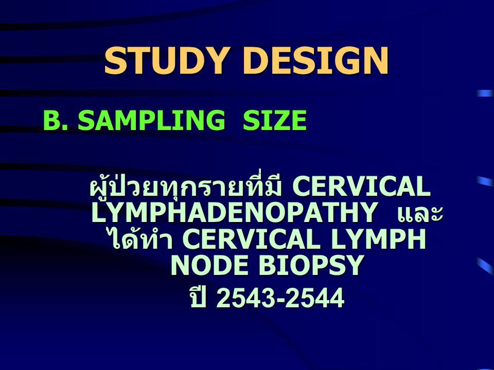 STUDY DESIGN A. TARGET POPULATION ผู้ป่วยที่ทำ Cervical Lymphnode biopsy ในโรงพยาบาล ผู้ป่วยที่ทำ Cervical Lymphnode biopsy ในโรงพยาบาล พุทธชินราช ปี
