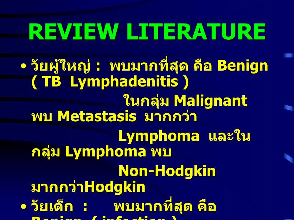 REVIEW LITERATURE วัยผู้ใหญ่ : พบมากที่สุด คือ Benign ( TB Lymphadenitis ) วัยผู้ใหญ่ : พบมากที่สุด คือ Benign ( TB Lymphadenitis ) ในกลุ่ม Malignant พบ Metastasis มากกว่า ในกลุ่ม Malignant พบ Metastasis มากกว่า Lymphoma และใน กลุ่ม Lymphoma พบ Lymphoma และใน กลุ่ม Lymphoma พบ Non-Hodgkin มากกว่า Hodgkin Non-Hodgkin มากกว่า Hodgkin วัยเด็ก : พบมากที่สุด คือ Benign ( infection ) วัยเด็ก : พบมากที่สุด คือ Benign ( infection ) ในกลุ่ม Malignant เช่นเดียวกับในวัยผู้ใหญ่ ในกลุ่ม Malignant เช่นเดียวกับในวัยผู้ใหญ่ บางงานวิจัยในวัยผู้ใหญ่ อาจพบ reactive hyperplasia บางงานวิจัยในวัยผู้ใหญ่ อาจพบ reactive hyperplasia