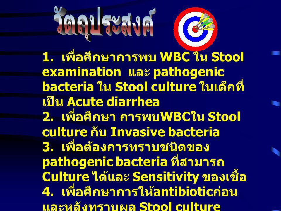 -Acute infectious diarrhea -WBC ใน Stool examination - การรักษาโดย antibiotic - ไม่พบเชื้อใน Stool culture