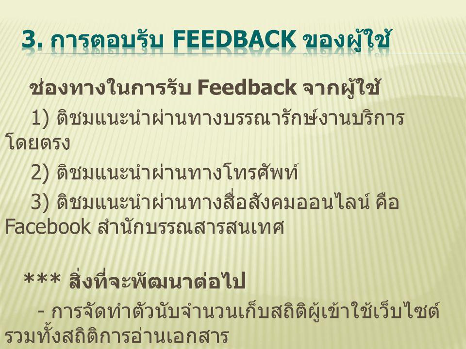 ช่องทางในการรับ Feedback จากผู้ใช้ 1) ติชมแนะนำผ่านทางบรรณารักษ์งานบริการ โดยตรง 2) ติชมแนะนำผ่านทางโทรศัพท์ 3) ติชมแนะนำผ่านทางสื่อสังคมออนไลน์ คือ F