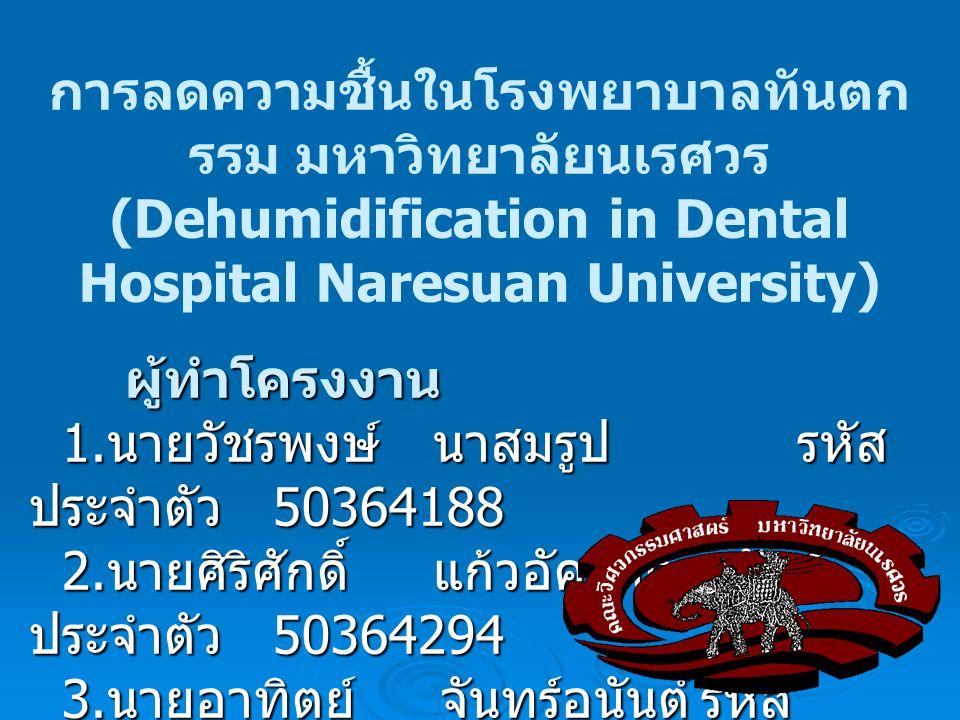 การลดความชื้นในโรงพยาบาลทันตก รรม มหาวิทยาลัยนเรศวร (Dehumidification in Dental Hospital Naresuan University)ผู้ทำโครงงาน 1. นายวัชรพงษ์ นาสมรูปรหัส ป