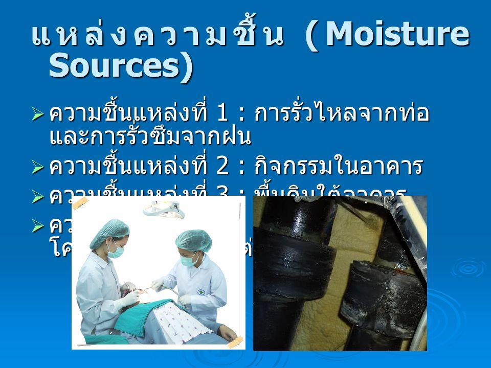 แหล่งความชื้น (Moisture Sources)  ความชื้นแหล่งที่ 1 : การรั่วไหลจากท่อ และการรั่วซึมจากฝน  ความชื้นแหล่งที่ 2 : กิจกรรมในอาคาร  ความชื้นแหล่งที่ 3