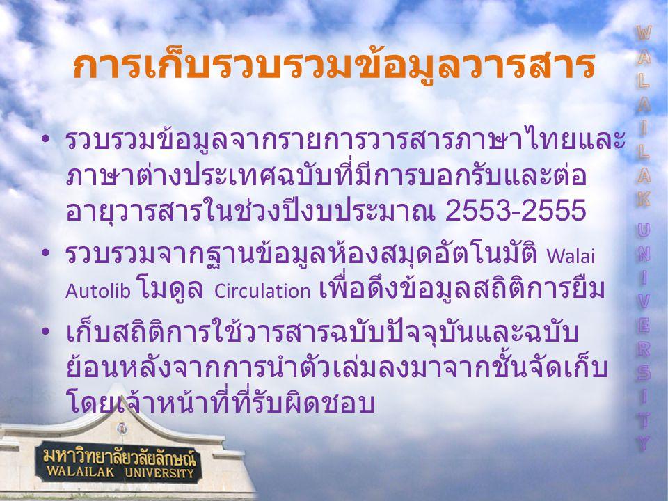 การเก็บรวบรวมข้อมูลวารสาร รวบรวมข้อมูลจากรายการวารสารภาษาไทยและ ภาษาต่างประเทศฉบับที่มีการบอกรับและต่อ อายุวารสารในช่วงปีงบประมาณ 2553-2555 รวบรวมจากฐานข้อมูลห้องสมุดอัตโนมัติ Walai Autolib โมดูล Circulation เพื่อดึงข้อมูลสถิติการยืม เก็บสถิติการใช้วารสารฉบับปัจจุบันและฉบับ ย้อนหลังจากการนำตัวเล่มลงมาจากชั้นจัดเก็บ โดยเจ้าหน้าที่ที่รับผิดชอบ