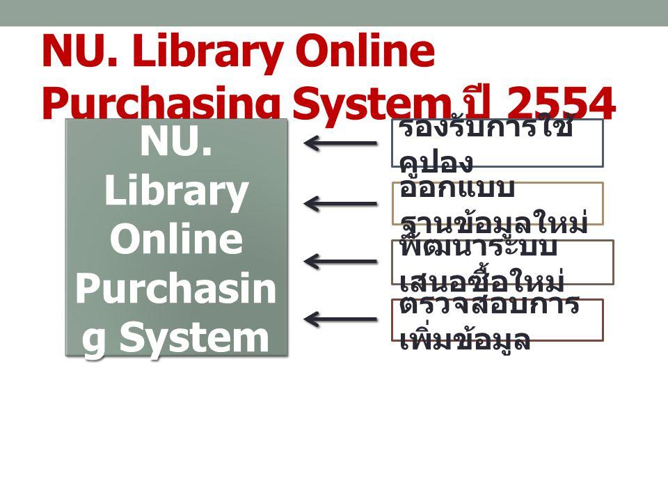 NU. Library Online Purchasing System ปี 2554 NU. Library Online Purchasin g System ออกแบบ ฐานข้อมูลใหม่ รองรับการใช้ คูปอง พัฒนาระบบ เสนอซื้อใหม่ ตรวจ