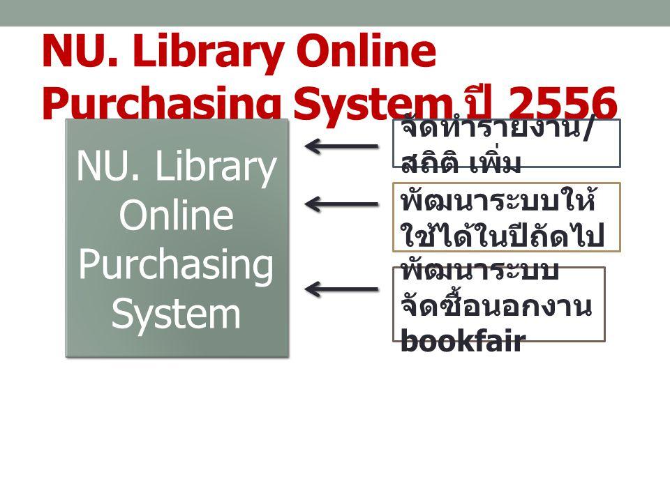 NU. Library Online Purchasing System ปี 2556 NU. Library Online Purchasing System จัดทำรายงาน / สถิติ เพิ่ม พัฒนาระบบให้ ใช้ได้ในปีถัดไป พัฒนาระบบ จัด