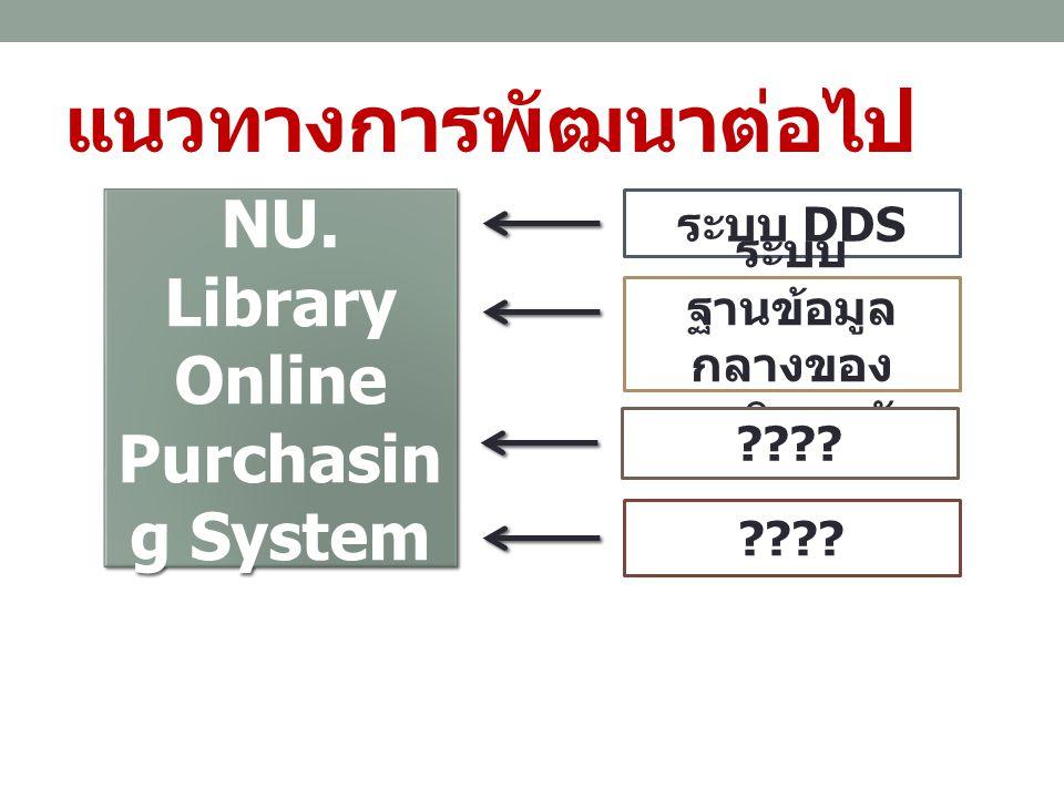แนวทางการพัฒนาต่อไป NU. Library Online Purchasin g System ระบบ DDS ระบบ ฐานข้อมูล กลางของ มหาวิทยาลัย ????