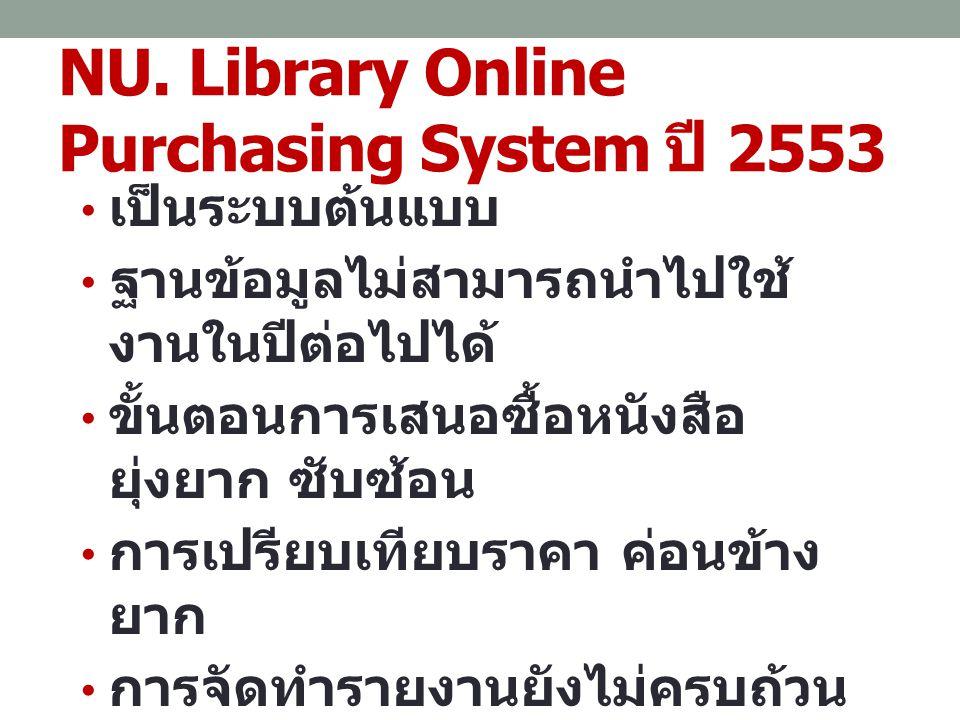 NU. Library Online Purchasing System ปี 2553 เป็นระบบต้นแบบ ฐานข้อมูลไม่สามารถนำไปใช้ งานในปีต่อไปได้ ขั้นตอนการเสนอซื้อหนังสือ ยุ่งยาก ซับซ้อน การเปร