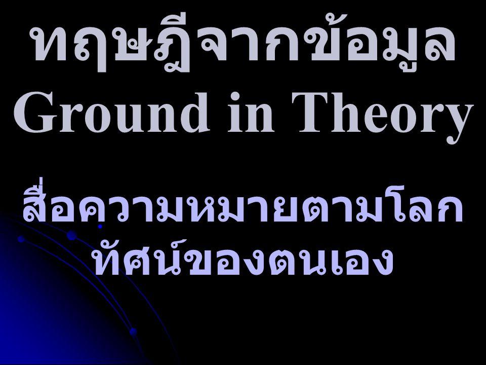 ทฤษฎีจากข้อมูล Ground in Theory สื่อความหมายตามโลก ทัศน์ของตนเอง