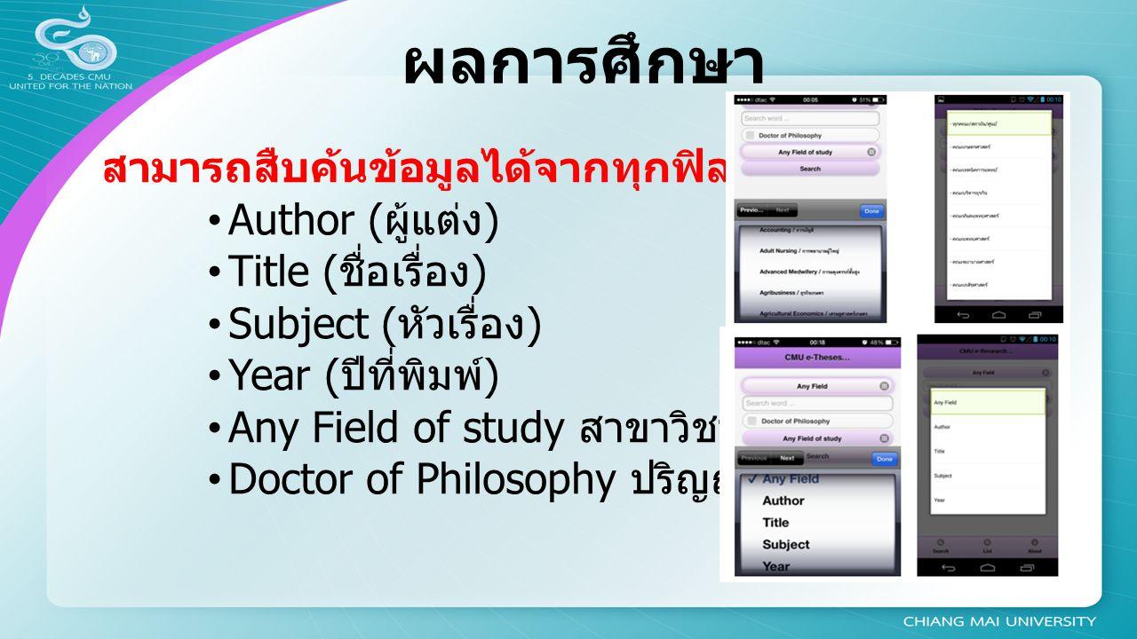 ผลการศึกษา สามารถสืบค้นข้อมูลได้จากทุกฟิลด์ (Any field) Author ( ผู้แต่ง ) Title ( ชื่อเรื่อง ) Subject ( หัวเรื่อง ) Year ( ปีที่พิมพ์ ) Any Field of