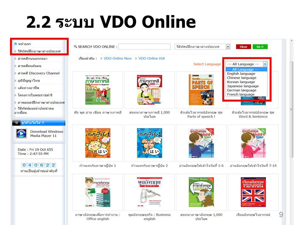 2.2 ระบบ VDO Online 9