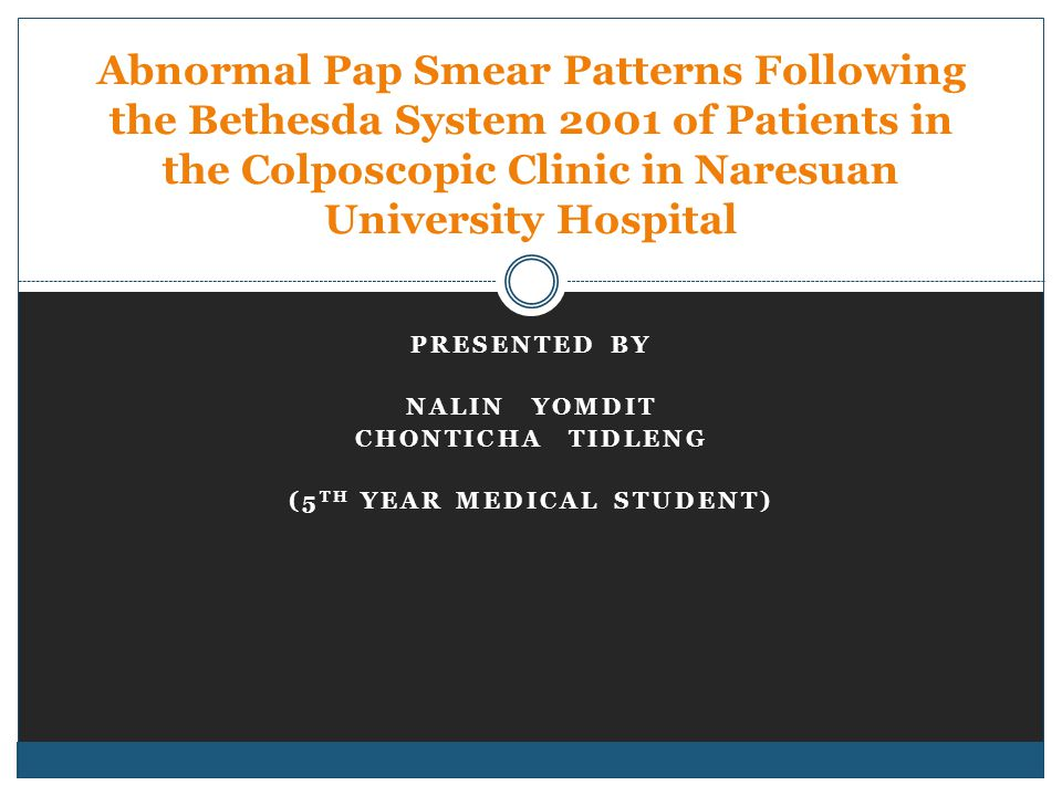 ABNORMAL PAP SMEAR PATTERNS FOLLOWING THE BETHESDA SYSTEM 2001 OF PATIENTS IN THE COLPOSCOPIC CLINIC IN NARESUAN UNIVERSITY HOSPITAL Results