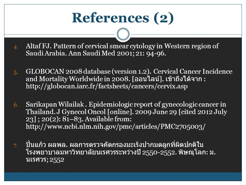 References (2) 4.Altaf FJ. Pattern of cervical smear cytology in Western region of Saudi Arabia.